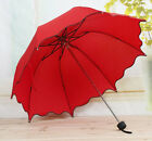 Princess Dome Parasol Sun/Rain Folding Umbrella Lotus Leaves Wave Lady Umbrella