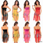 LADIES SEXY SEQUIN FRINGE BOOB TUBE TOP CLUB DANCE WARE SIZE S - M