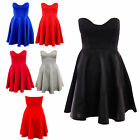 WOMENS LADIES BOOBTUBE PADDED PLEATED BODYCON SKATER SKIRT PARTY TOP DRESS 8-20