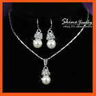 18K GOLD GF S09 PEARL LAB DIAMOND WEDDING BRIDAL GIFT SOLID NECKLACE EARRING SET