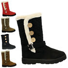 NEW WOMENS LADIES GIRLS FLAT HEEL VELCRO FUR SNOW WINTER CALF BIKER BOOTS SIZE