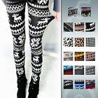 Soft Autumn Winter Knitted Snowflake Reindeer Tights Leggings Trousers Pants