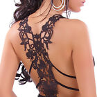 Sexy Women's Embroidered Open Back Top Clubbing 2 Colours One size S/M UK 8/10
