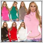 Turtleneck Sweater Sexy Womens Ladies Casual Striped Jumper Size 6,8,10,12 UK