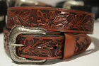Mens Hand Tooled Cowboy Belt Pro Rodeo Thick Leather Style b12 Tan handtooled
