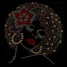 Afro Lady with Red Flower Bow & Lips Rhinestone Iron on Transfer