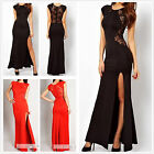 Ladies Lace Long Bodycon Evening Cocktail Fashion Dress Cut Out Black Red S-XL