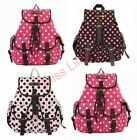 Canvas Polkadot Stylish Retro Backpack Rucksack Medium/Large Traval School Bag
