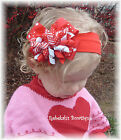 Valentines Day Red Dots Stripes Hair Bow headband OR clip Infant toddler girls