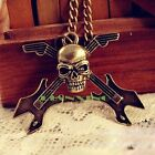 Retro Vintage Gothic Rock Skull Guitar Cross Pendant Sweater Chain Necklace