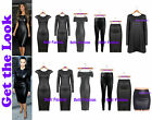 New Celeb Style Black Wet Look Faux Leather Pu Pvc Midi Dress Bardot Midi Dress