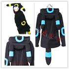 Pokemon Umbreon fleece hood hoodie Costume Cosplay fan made coat S M L XL size