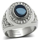 DARK BLUE RING MEN'S OVAL DOME STONE SILVER STAINLESS STEEL 7 8 9 10 11 12 13
