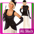 Ladies Black Flapper Gatsby Costume 20s 1920s Chicago Gangster 20s Fancy Dress
