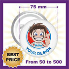 CUSTOM 75 mm BADGES , YOUR TEXT OR IMAGE, PINS / BUTTON, BEST PRICE EVER!