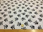 Poly cotton Fabric Dress WHITE with BLACK Skulls Pirate Gothic 112 cm
