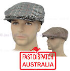 Men Pageboy Newsboy Driving Flat Ivy Check Plaid Tweed Houndstooth Cap Sun Hat