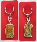 Religious Keyring St Christopher / Miraculous / Sacred Heart Olive Wood