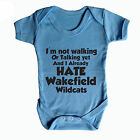 I HATE WAKEFIELD WILDCATS FUNNY BABY GROW - RUGBY BABY GROW CASTLEFORD TIGERS