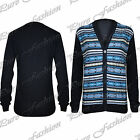 Mens Aztec Knitwear Sweater Front Buttons Knitted Long Sleeves Top Cardigan Size