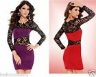Bodycon Bandage Wiggle Lace Dress Womens Celeb Style Evening Club Party 8-10-12