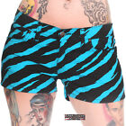 ZEBRA STRETCH HOT PANTS-AQUA ROCK SHORTS GLAM DISCO PUNK TIGHT MARY QUANT