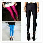 Women Fashion Shiny Stretchy High Waisted Disco Dance Leggings Skiny Pants 8-18