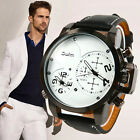 Mens OULM Military Army 2 Time Zones Movements Leather Sport Quartz Wrist Watch