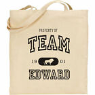 TEAM EDWARD -  CULLEN JACOB BELLA TWILIGHT NATURAL COTTON TOTE SHOPPING
