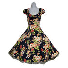H&R London Rockabilly Kleid Petticoat Dress 50s Pin up Blumen Vintage Tanz 6645