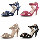 New Ladies Ankle Strap Stiletto High Heel Peep Toe Buckle Sandals Size UK 3-8