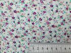 FLORAL POLYCOTTON FABRIC SMALL MEADOW MIX CREAM BACK - DARK & LIGHT LILAC PETAL