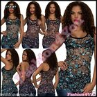 Flowers Top Sexy Womens Ladies Summer Party Casual Floral Top ONE SIZE 6,8,10 UK