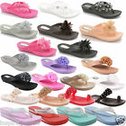 WOMENS LADIES FLOWER TOE POST SANDALS SUMMER SHOES FLIP FLOPS BEACH JELLY NEW