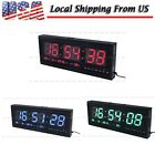 Modern 48cm Red/Blue Digital Large Big Jumbo LED Wall Calendar Desk Tem Clock-US