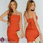 Womens Sexy Wow Couture Dress Burnt Orange Ruffle Tier Heavy Bandage Sheath