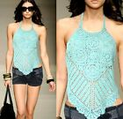 Sexy Ladies Cocktail Club Party Hand Knitting Halter Summer Top 6-10 3040