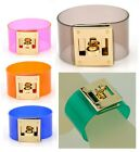 Women Jelly Candy Color Bracelet Designer Inspired Bangle PVC Cuff Wristband H/T