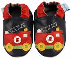 NEW SOFT LEATHER BABY SHOES 0-6, 6-12, 12-18,18-24 Mths & 2-3 Yrs FIRE ENGINE
