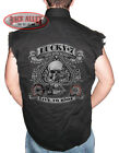 Lucky 7 Skull & Spades Sleeveless Denim Shirt Biker M-3XL Live 2 Ride Motorcycle