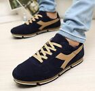 Fashion Mens Casual Lace Up Athletic Flats Pieced Faux Suede Sneaker Shoes New