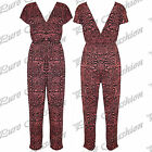 Womens Aztec Monochrome Celebrity Inspired Ladies Cross Over All In One Jumpsuit