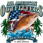 REDFISH ALL AMERICAN OUTFITTERS  FISHING T-SHIRT SHORT SLEEVE W/PKT SNOOK TARPON