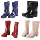 NEW Arrival Women's Mid Calf Rainboots Rivet Studded Waterproof Galoshes