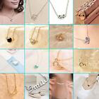 Fashion Silver Smile Letter Enamel Crystal Charming Short Sweater Chain Necklace