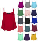 LADIES PLAIN SLEEVELESS STRAPPY SWING VEST CAMI WOMENS CASUAL TANK TOP 8-22
