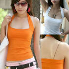 UK 4-14 Candy Color Hot Halter Neck Bottoming Top Vest Tank T-Shirt Blouse Cami