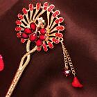 New Design Hair Stick Rhinestone Red/Purple/Blue crystal peacock Chains Hairpin