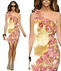 Sexy Women Cocktail Party Formal One Shoulder Rose Bridesmaid Body Dress 1577