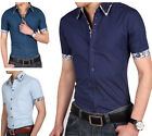 SD70 New Men's Stylish Short Sleeves Casual Dress Slim Fit Shirts 3 Color 5 Size